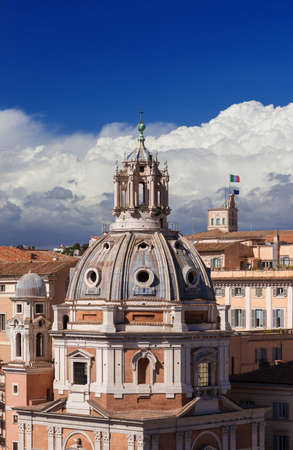 Rome historical center skyline with renaissance dome and Quirinal Hill