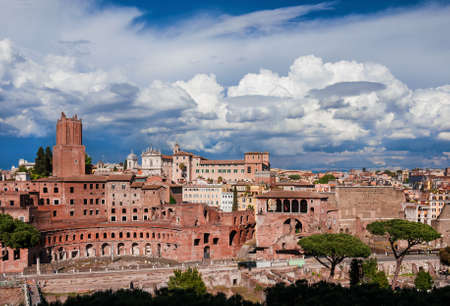 Imperial Fora ruins (Augustus and Trajan Forum) view from above with ancient monuments in the historic center of Rome