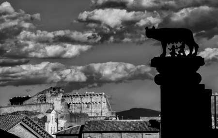 Silhouette de la colonne Capitoline Wolf et vue du Forum romain avec le Colisée (noir et blanc) Banque d'images