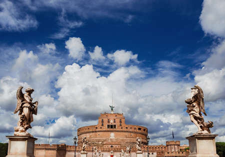 Castel SantAngelo (Castle of the Holy Angel) in the center of Rome with beautiful baroque angel statues and clouds