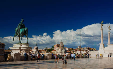 Rome, Italy, May 20, 2017: Tourists visit the Vittoriano Monument (Altar of Nation) in the center of Rome