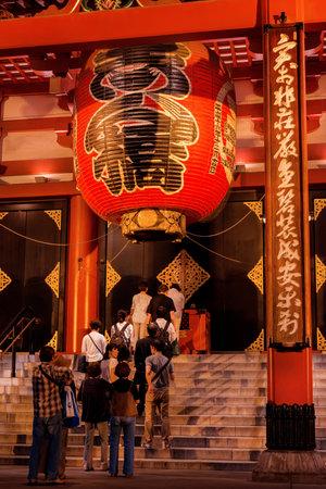 Tokyo, Japan, October 10, 2017: People pray at the Senso-ji Buddhism temple in Asakusa old discrit in Tokyo