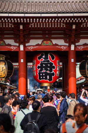 Tokyo, Japan, October 18, 2017: Tourists flocking to Senso-ji Temple during Autumn Festivals in Asakusa district in Tokyo
