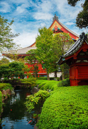 Old temples, shrines and traditional japanese garden in Asakusa district, Tokyo
