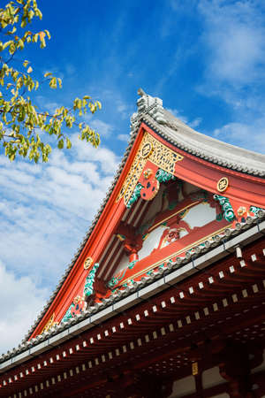 Detail of Senso-ji Buddhist japanese temple roof in Asakusa district, the oldest temple in Tokyo
