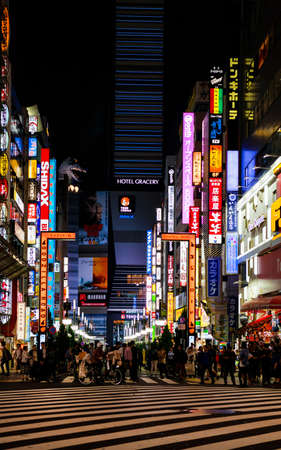 Tokyo, Japan, October 11, 2017: Godzilla Road in Kabukicho, the entertainment district of Shinjuku in Tokyo, with the head of the famous monster Éditoriale
