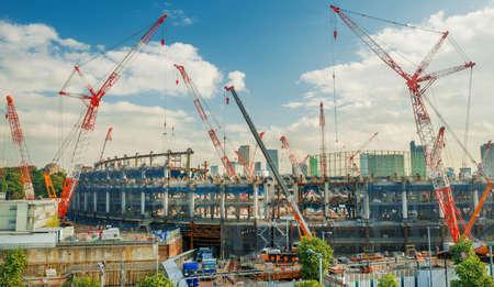 Tokyo, Japan, November 10, 2017: New Tokyo National Stadium under construction in Shinjuku District for 2020 Summer Olympic Games