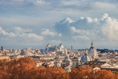 Rome historic center autumn or winter skyline view, with beautiful clouds Stock Photo