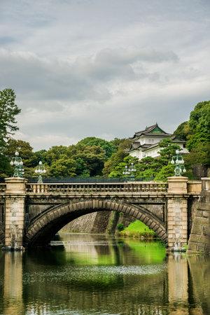 Jardins extérieurs du palais impérial de Tokyo avec le célèbre pont de Nijubashi