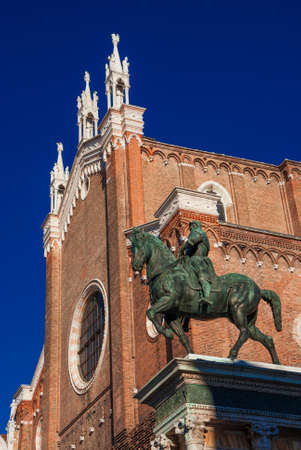 Bartolomeo Colleoni renaissance italian soldier of fortune bronze equestrian monument and Saints John and Paul gothic church in Venice