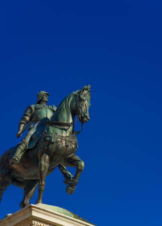 Bartolomeo Colleoni, soldat italien de la fortune, monument équestre en bronze à Venise, moulé par l'artiste de la Renaissance Verrocchio au 15ème siècle (avec espace copie) Banque d'images