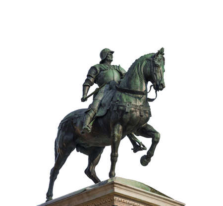 Bartolomeo Colleoni, italian soldier of fortune, bronze equestrian monument in Venice, cast by renaissance artist Verrocchio in the 15th century (isolated on whitw background)