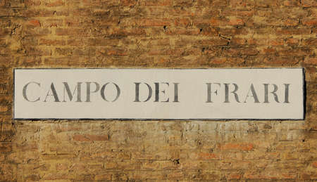 Campo dei Frari (Friars Square) old traditioanl road sign on a wall in Venice