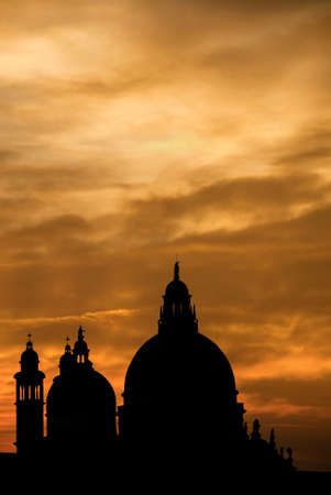Venice sunset with Salute Basilica (Saint Mary of Health) baroque domes