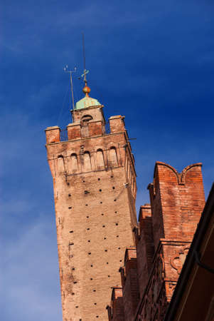 Medieval leaning Asinelli Tower, the tallest tower in Bologna and the symbol of the city, erected at the end of the 12th century