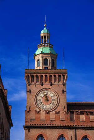 Bologna Old Town Hall Clock Tower in Piazza Maggiore (Major Square), built in the 15th century