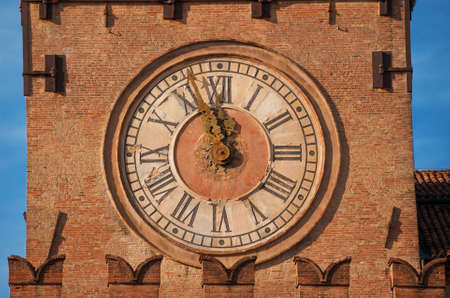 Detail of Bologna Old Town Hall Clock Tower in Piazza Maggiore (Major Square), built in the 15th century Banque d'images