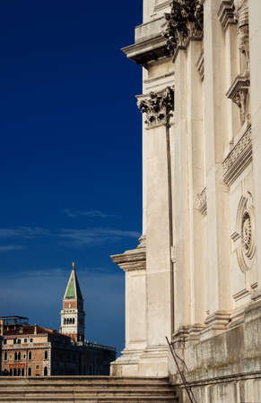 Saint Mark Bell Tower seen from Salute Basilica (Saint Mary of Health) steps in Venice