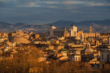 Rome historic center turns to gold at sunset with famous landmarks