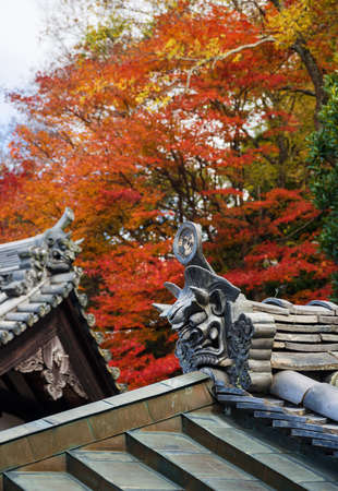 Japanese Buddhist temple roof with traditional metal tiles, ancient demon faces and autumn leaves