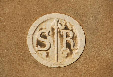 Saint Roch parish old symbol on a wall in Venice Reklamní fotografie