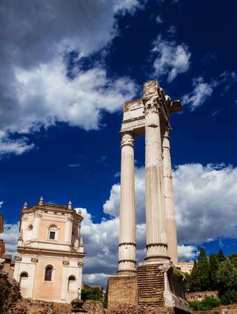 Ancient ruins of the Temple of Apollo Sosanius in the historic center of Rome, erected in the 1st century BC