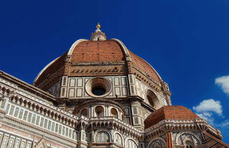 Beautiful dome of Saint Mary of the Flower in Florence seen from below, built by italian architect Brunelleschi in th 15th century and symbol of Renaissance in the world