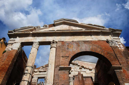 Porticus Octaviae ancient ruins at the entrance of the Jewish Ghetto in the historic center of Rome Stock Photo
