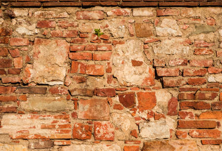 Old wall with brick and stone block as background 版權商用圖片