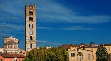 Lucca historic center skyline with St Fridanius old belfry and Guinigi medieval tower