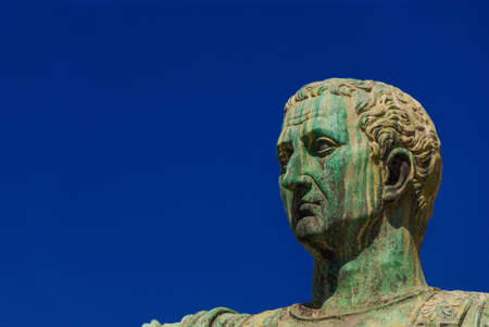 Caesar Augustus Nerva Emperor of Ancient Rome bronze statue in Imperial Forum (with copy space) Stock Photo