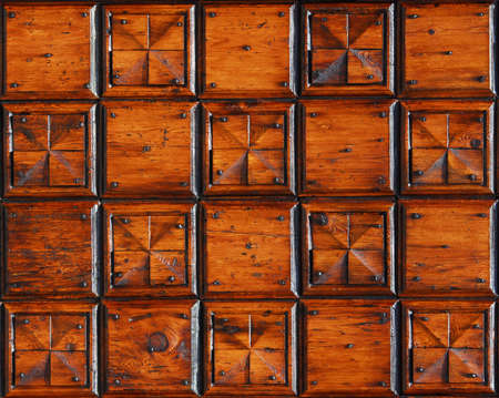 Old wooden panel with squares as background