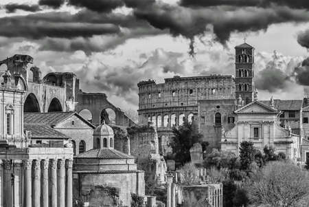 Rome historic center antiquities and monuments in black and white engraving or etching style