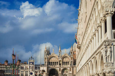 Venice, Italy, February 9, 2018: View of Saint Mark Square. Beautiful monuments and landmarks Editorial