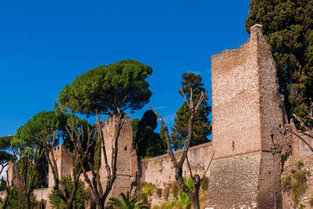 View of a section of Rome ancient roman walls, erected in the 3rd century