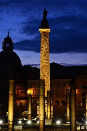 Evening view of the ancient Trajans Column in the Imperial Forum in Rome