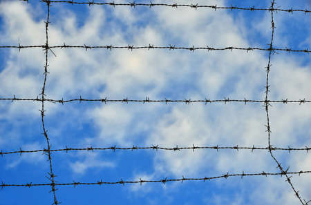 Barbed wire strands with azure sky and white clouds as background