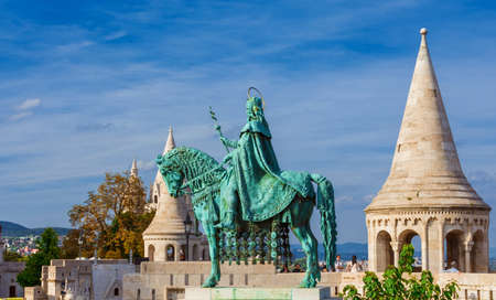 Budapest, Hungary, September 16, 2016: Visiting the characteristic Fishermans Bastion in Budapest, a panoramic terrace with Saint Stephen monument