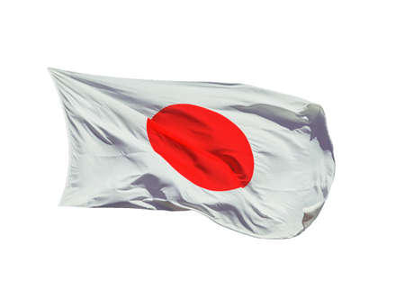 National Flag of Japan with the Red Sun waving in the wind (isolated on white background)