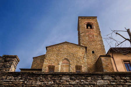 View of Saint Augustine medieval church in Cortona historic center, an old and small town in Tuscany