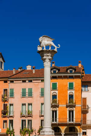 Lion of Saint Mark monument, symbol of the old Venice Republic. Monument erected in 1473 in Vicenza central Piazza dei Signori (Lords Square)