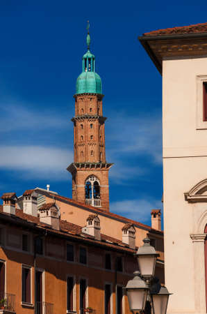Bissara Tower rises above Vicenza historic center rooftops Reklamní fotografie