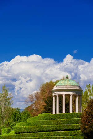 Neoclassical architecture and landscape in Vicenza. Monopteros temple erected in 1820 in the Querini public park (with copy space above)