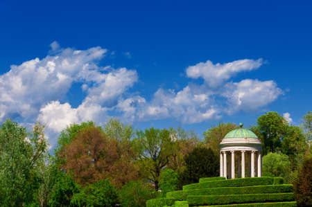 Neoclassical architecture and landscape in Vicenza. Monopteros temple erected in 1820 in the Querini public park Reklamní fotografie