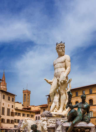 Renaissance Fountain of Neptune, erected in 1565 in Piazza delle Signoria Square, in the historic center of Florence