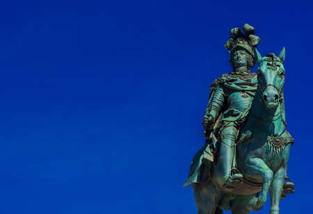 King Jose I of Portugal, bronze statue erected in 1775 in the center of Praca do Comercio Square, Lisbon (with copy space) Stock fotó - 127529088