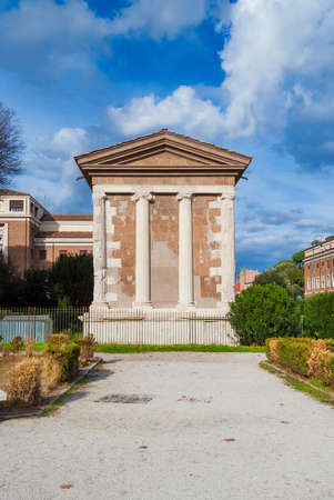 Ancient ruins of the roman Temple of Portunus located in Forum Boarium, in the historic center of Rome
