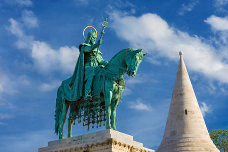Bronze equestrian statue of Saint Stephen, King of Hungary, erected in 1906 in Fishermans Bastion Square, in Budapest
