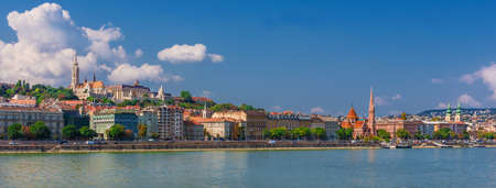 View of Budapest hill with Matthias Church, Fishermans Bastion and River Danube