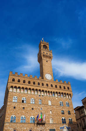 Palazzo Vecchio (Old Palace), the beautiful Florence town hall erected in the 14th century and  designed by the famous medieval architect Arnolfo di Cambio